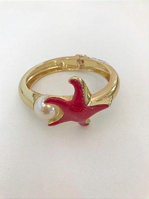 Bracelete Estrela Mar Com Pérola
