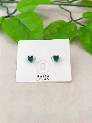 Brinco Mini Coração Verde Esmeralda