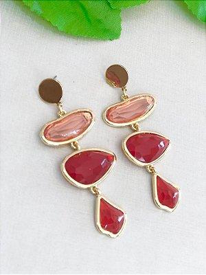 Brinco Pedras Vermelhas