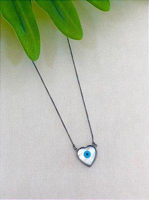 Colar olho grego coração
