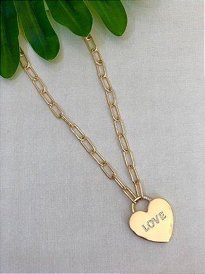 Colar Cartier Com Coração Cravejado Love