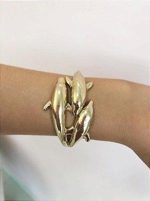 Bracelete 3 Golfinhos Dourado