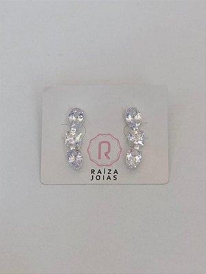 Brinco Mini Ear Cuff Cristal Prata 925