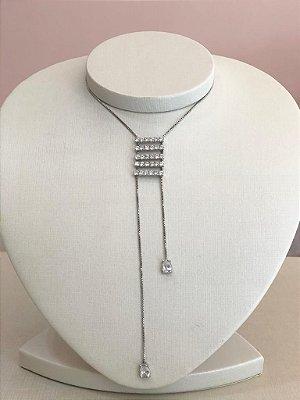 Colar Gravatinha Detalhe Em Zircônias