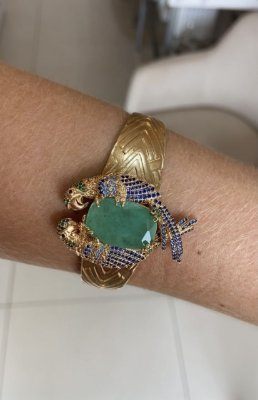Bracelete Arara Cravejado Com Pedra Turmalina