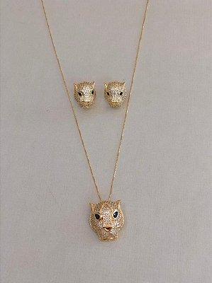 Conjunto Leopardo Cravejado Dourado