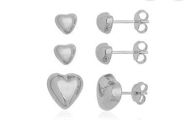 Brinco Mini Coração Ródio Branco G