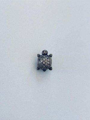 Berloque Tartaruga Cravejado Prata