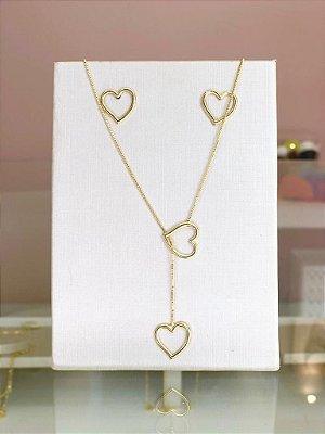 Conjunto Gravata Coração Dourado