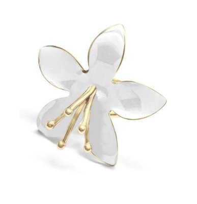 Anel 16 Flor Off White Energia