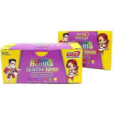 Tinta Guache Neon Heróis RADEX - 15 ml - 6 cores