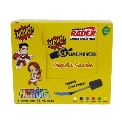Tempera Guache Guachincel Heróis RADEX - 18 ml - 6 cores