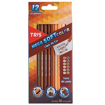 Lápis de Cor Mega Soft Color 12 Tons de Pele Tris