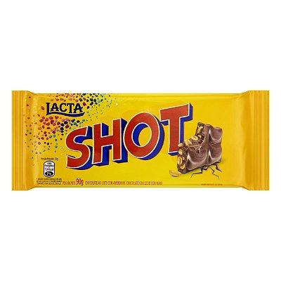 Barra de Chocolate ao Leite com Amendoim Shot LACTA 90g