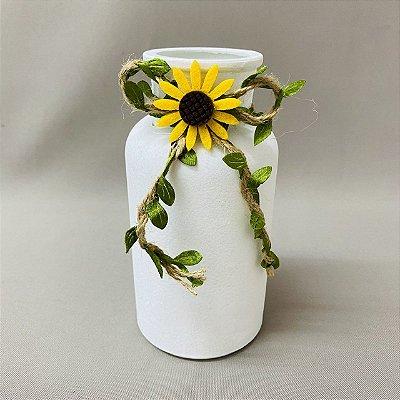 Vaso Decorativo de Vidro Redondo com Girassol 16cm x 8cm