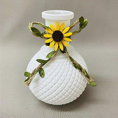Vaso Decorativo de Vidro Redondo com Girassol 14cm x 10cm