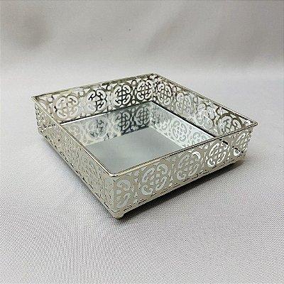 Bandeja Metal Espelhado Quadrada 12,8cm x 5cm
