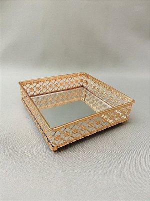 Bandeja Metal Espelhado Quadrada 16cm x 5cm