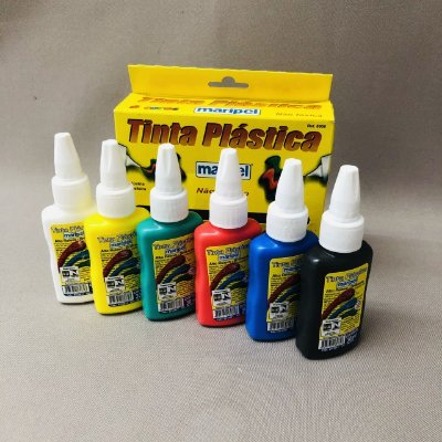 Tinta Plástica Maripel 6 cores - 30 ml - Não Tóxica