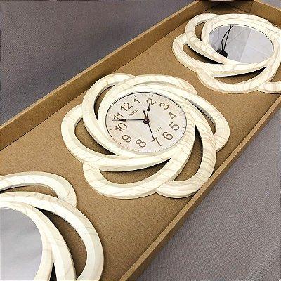 Relógio de Parede Triplo com Espelho Quartz