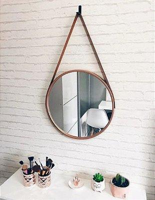 Espelho Adnet Redondo Decorativo de Parede Rose Gold