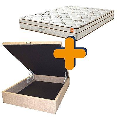 Cama Box Baú + Colchão Inducol Pequim Molas Ultralastic Casal King 193x203