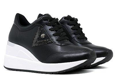 Tênis Sneaker Anabela Via Marte Sintético 19-12303 Feminino - Preto com Pewter