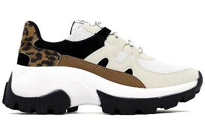 Tênis Chunky Dad Sneaker Flatform Animal Print Tratorado Via Marte 20-7604 Feminino - Multicor