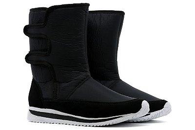 Bota Estilo Ugg Forrada Com Pelo Tamira Confort Neve e Frio Com Velcro Feminino - Preto
