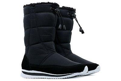 Bota Estilo Ugg Forrada Com Pelo Tamira Confort Neve e Frio Com Ajuste Feminino - Preto