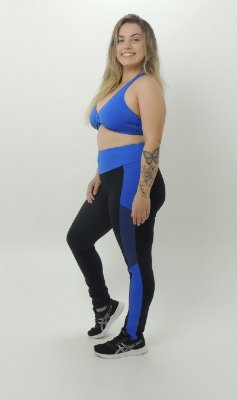 Legging Recortes Tela Plus Size