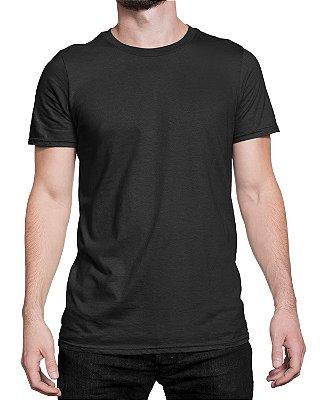 Camiseta Masculina Lisa Tradicional Preta - 100% Algodão 30.1 Penteado