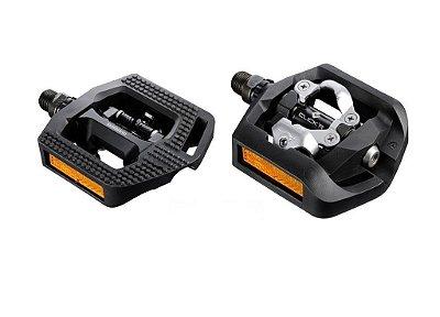 Pedal Shimano T421 ClickR Preto Refletor