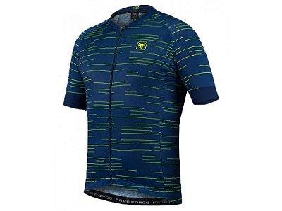 Camisa Free Force Sport Row Azul e Amarelo