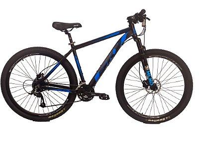 Bicicleta Sky 24V Preto e Azul Hidráulico