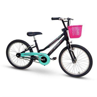 Bicicleta Aro 20 Nathor Grace Preto, Verde e Rosa