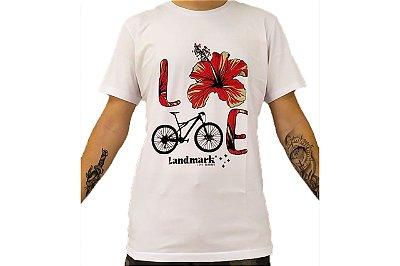 Camisa Casual Landmark Bike Flor Branco Reativo