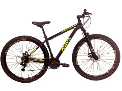 Bicicleta Aro 29 RAVA Pressure 24V Preto/Verde/Azul Mecanico