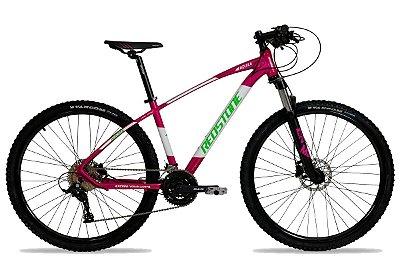 Bicicleta Aro 29 Redstone Aquila 27V Rosa/Branco/Verde