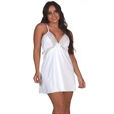 Camisola Sensual Luxo em Renda Sem Bojo Branca