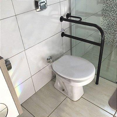 Barra De Apoio Lado Esquerdo Para Banheiro Em Aço Para Idosos - Preto