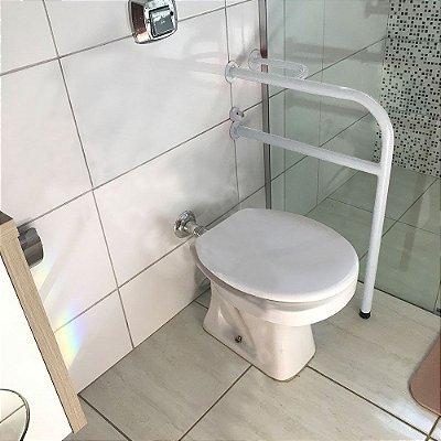 Barra De Apoio Lado Esquerdo Para Banheiro Em Aço Para Idosos - Branco