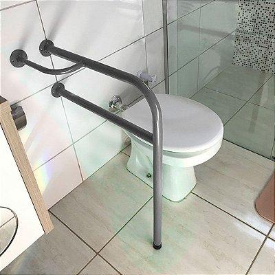 Barra De Apoio Lado Direito Para Banheiro Em Aço Para Idosos - Prata