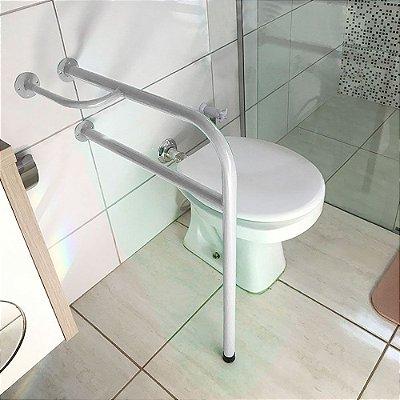 Barra De Apoio Lado Direito Para Banheiro Em Aço Para Idosos - Branco