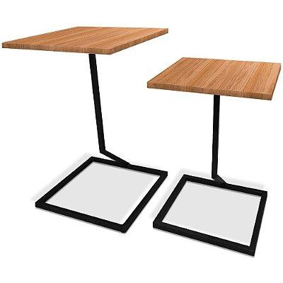 Mesa De Canto Dupla Square - Preto/Jade