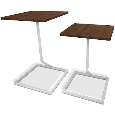 Mesa De Canto Dupla Square - Branco/Villandry