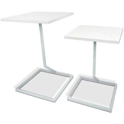 Mesa De Canto Dupla Square - Branco/Branco