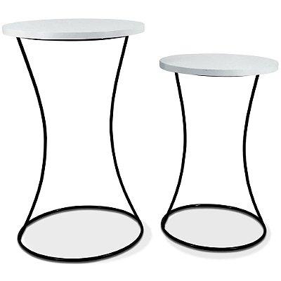 Conjunto Mesa De Canto Perla - Preto/Branco