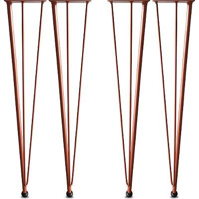 Kit 04 Pés de Mesa Nantes Hairpin Legs - Cobre