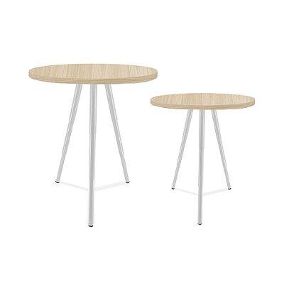 Mesa De Canto Dupla Lévis - Branco/Jade